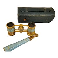Antique French NY Blue Guilloche Telescoping MOP Opera Glasses w/ Handle and org. Case