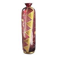 "Antique 11"" Vase Bohemian Cranberry Glass w/ 22 kt. Gold Enameling"