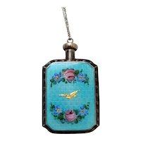 Antique 2 Sided Sterling Silver & Blue Guillohe Perfume Bottle w/ Flowers *Bird