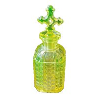 Antique Canary Yellow Vaseline Glass Perfume Bottle