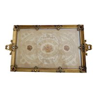 """Antique Large 19"""" Jeweled Vanity Tray w/ Lace Insert"""