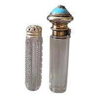 2 Antique Perfume Bottles Marked Sterling Silver * Blue opaline Glass Jeweled Top