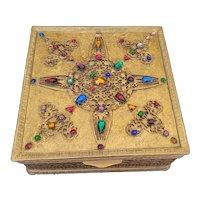 Antique LRG Apollo Studios Jeweled Casket Trinket Vanity Box **As-Is