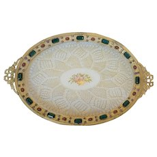 Antique Jeweled Vanity Tray w/ Lace Insert