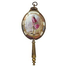 Antique French Bronze Chatelaine Hand Mirror w/ Hand Painted Portrait