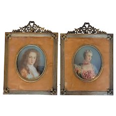 Superb French Pair Antique Hand Painted Miniature Portraits w/ Frames