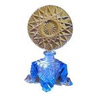 Antique Lrg. Blue Cut Glass  Czechoslovakia Perfume Bottle Czech