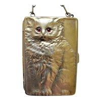 Antique LOUIS KUPPENHEIM Art Deco Ruby Eyed Kitten/ CompactSterling Silver Purse/Compact