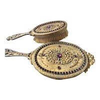 Antique Purple Jeweled Hand Mirror & Brush Set