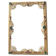 Antique Jeweled Bronze w/ Gilt finish Picture Frame * Vanity Perfume Related Assc.