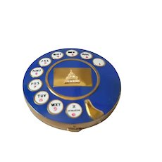 VTG 1950's Jeweled Blue Rotary Telephone Compact Inspired by Salvador Dali