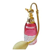 VTG Signed Baccarat Cranberry Glass Perfume Atomizer Bottle French