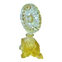 Antique Lrg. Yellow Cut Glass Czechoslovakia Perfume Bottle Czech