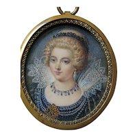 Superb Hand Painted Miniature Portrait Subject 1500's Women w/ Medici Collar