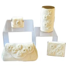 VTG Schildraut Bros. 4 pc Jeweled Compact, Lighter, Cylinder shape compact, Purse