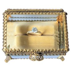 Special Custom Made Ring Casket w/ Beveled Glass and Ring Cushion Trinket Box