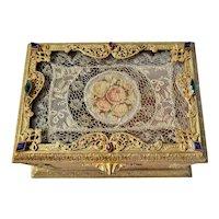 Lrg. Antique Jeweled Silvercraft Jewelry Casket Trinket Box