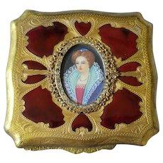 Vintage Itialian Compact w/ Miniature Portrait, Colorful Enamel & Jeweled