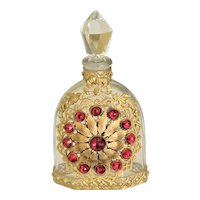 Antique Red Jeweled Perfume Bottle w/ Gold Filigree