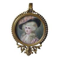 "Antique French Bronze 6"" Hand Mirror w/ Signed Miniature Portrait"