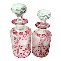 2 Antique Baccarat / Val St. Lambert Perfume Bottle ca1900 Cranberry Cameo Glass Acid Cut * Set of 2