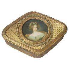 Antique French Box w/ Miniature Portrait under glass
