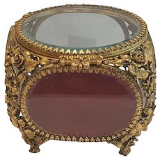 Gorgeous Matson Jewelry Casket Trinket Box w/ Beveled Glass Gold plate *Vintage