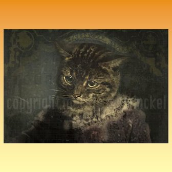 Venetian Cat - An anthropomorphic Portrait . Limited Edition Digital Art Print.