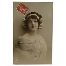 Charming French Girl Tinted Postcard