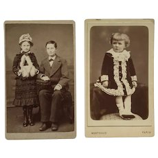 Lot of 2 CDV- Victorian Children All Dressed Up
