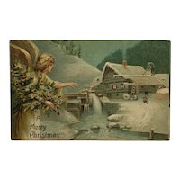 Lovely Christmas Angel With Decorated Tree Postcard