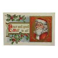 Santa With Peace And Good Will Wishes Postcard