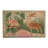 Majestic Stag And Church Yard Postcard- Airbrushed