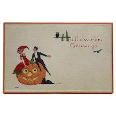 Stylish Halloween Couple Celebrates Postcard