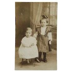 Darling Turn Of 19th Century Big Sister & Little Brother Postcard