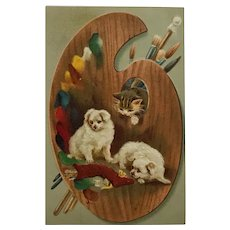 Puppies And Kitty With Artist's Palette Greeting Postcard