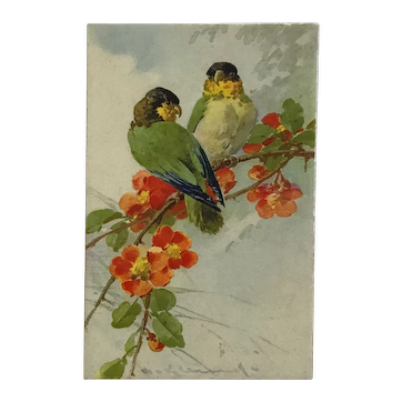 Parakeets And Flowers- Catherine Klein