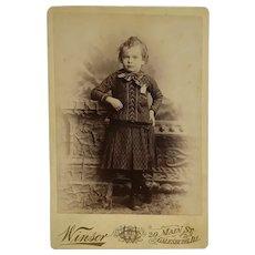 Cabinet Card-Victorian Boy In Print Dress
