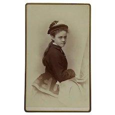 CDV- Victorian Girl In Hat-April 1876