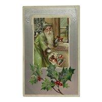 Old World Santa In Green At Window Postcard