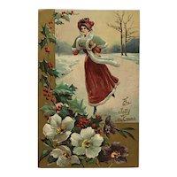 Pretty Young Woman Ice Skating Postcard