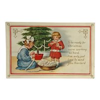 Children Decorate Christmas Tree With Popcorn  Postcard