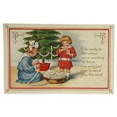 Children Decorate Christmas Tree With Popcorn  Postcard