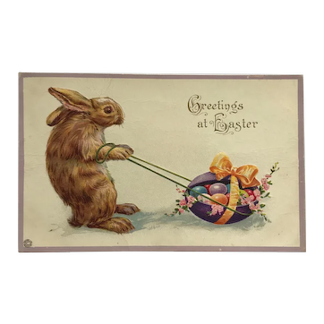 Big Brown Easter Bunny With Colored Eggs Postcard