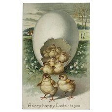 Giant Easter Egg With Many Chicks Postcard