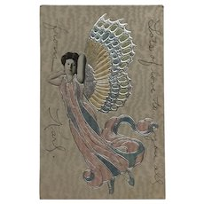 Fantasy Silver Winged Butterfly Lady Postcard
