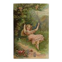 Pretty Girl On A Swing Postcard.