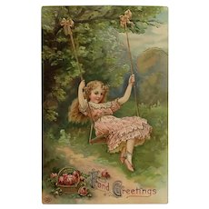 Pretty Girl On A Swing Postcard.