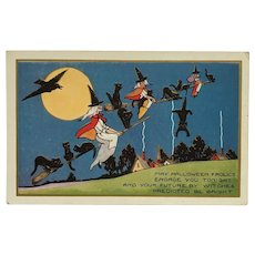 Flying Witches And Their Crazy Halloween Cats Postcard