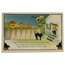 Halloween Jack's And Cats On Halloween postcard